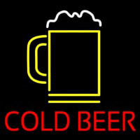 Red Cold Beer With Yellow Mug Neon Sign