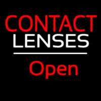 Red Contact Lenses Open White Line Neon Sign