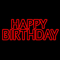 Red Double Stroke Happy Birthday Neon Sign