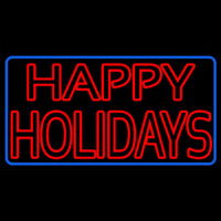 Red Double Stroke Happy Holidays Neon Sign