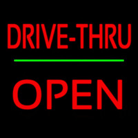 Red Drive Thru Block Open Green Line Neon Sign