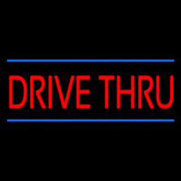 Red Drive Thru Blue Lines Neon Sign