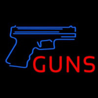 Red Guns With Blue Logo Neon Sign