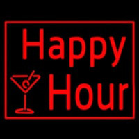 Red Happy Hour With Wine Glass Neon Sign