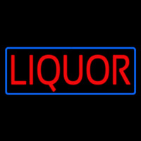Red Liquor Blue Border Neon Sign