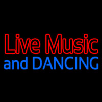 Red Live Music Blue And Dancing Neon Sign