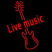 Red Live Music Guitar Neon Sign