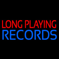 Red Long Playing Blue Records Block 1 Neon Sign