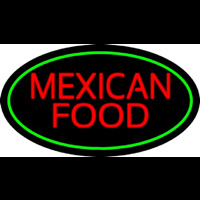 Red Me ican Food Oval Green Neon Sign