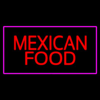 Red Me ican Food Pink Border Neon Sign