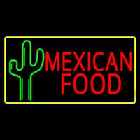 Red Me ican Food With Cactus Logo Neon Sign