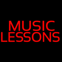 Red Music Lessons Neon Sign