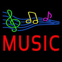 Red Music With Musical Notes Neon Sign