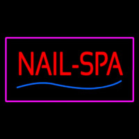 Red Nails Spa With Pink Border Neon Sign