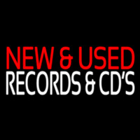 Red New And Used White Records And Cds 2 Neon Sign