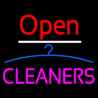 Red Open Cleaners Logo Neon Sign