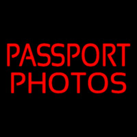 Red Passport Photos Neon Sign