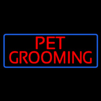 Red Pet Grooming Blue Border Neon Sign