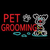 Red Pet Grooming Neon Sign