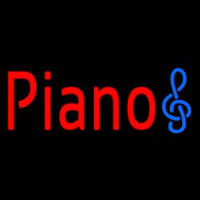Red Piano Music Note Neon Sign