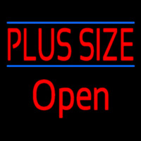 Red Plus Size Blue Lines Open Neon Sign