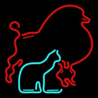 Red Poodle Dog Cat Logo Neon Sign