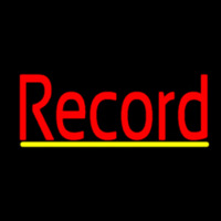 Red Record Cursive Yellow Line 2 Neon Sign