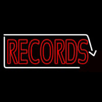 Red Records With White Arrow 2 Neon Sign