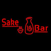 Red Sake Bar With Bottle And Glass Neon Sign