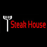 Red Steakhouse With Fork Neon Sign