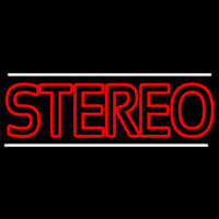 Red Stereo Block White Line Neon Sign