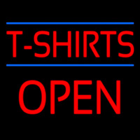 Red T Shirts Block Open Neon Sign