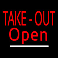 Red Take Out Open With White Line Neon Sign