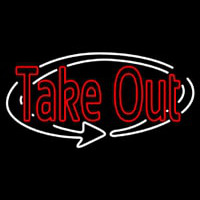 Red Take Out With Arrow Neon Sign