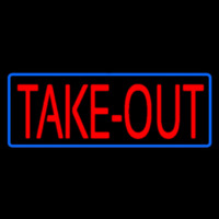 Red Take Out With Blue Border Neon Sign