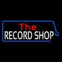 Red The White Record Shop Blue Arrow Neon Sign