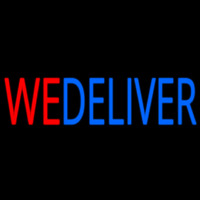 Red We Deliver Blue Neon Sign