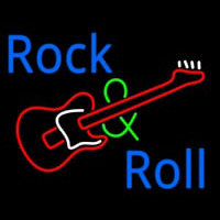 Rock And Roll With Guitar Neon Sign