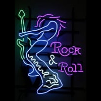 Rock Roll Electric Guitar Player Neon Sign