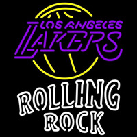 Rolling Rock Duble Line Los Angeles Lakers NBA Beer Sign Neon Sign