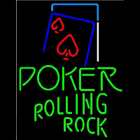 Rolling Rock Green Poker Red Heart Beer Sign Neon Sign