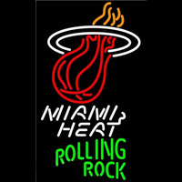 Rolling Rock Miami Heat NBA Beer Sign Neon Sign
