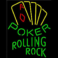 Rolling Rock Poker Yellow Beer Sign Neon Sign