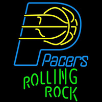 Rolling Rock Single Line Logo Indiana Pacers NBA Beer Sign Neon Sign