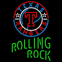 Rolling Rock Single Line Texas Rangers MLB Beer Sign Neon Sign