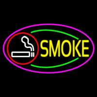 Round Cigar And Smoke Oval With Pink Border Neon Sign