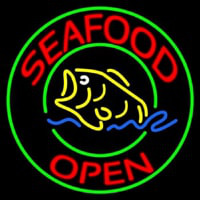 Round Seafood Open  Neon Sign