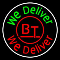 Round We Deliver Open Neon Sign