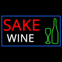 Sake Wine Bottle Glass With Blue Border Neon Sign