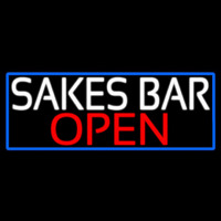 Sakes Bar Open With Blue Border Neon Sign